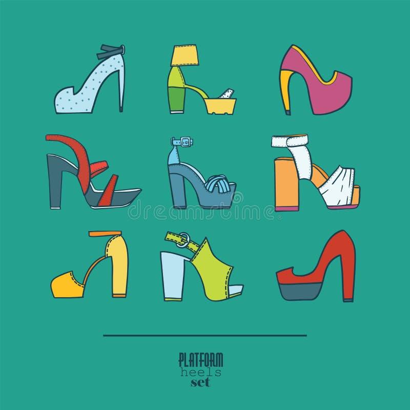 Grupo bonito com as sapatas à moda da forma, mão tirada e no fundo A ilustração do vetor que mostra a vária plataforma coloca sal ilustração do vetor