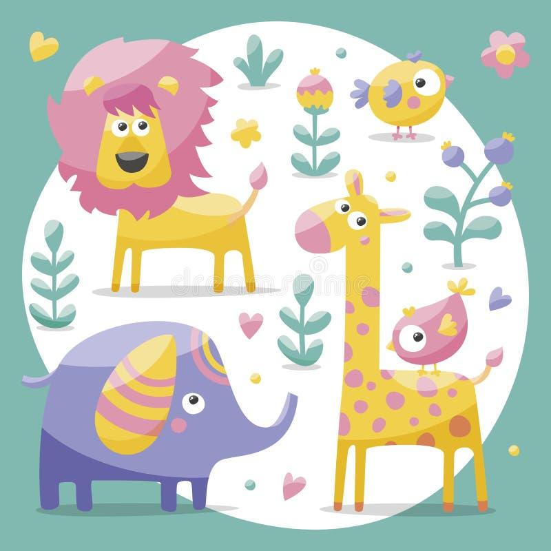 Grupo bonito com elefantes, leão, girafa, pássaros, plantas, selva, flores, corações, folhas, pedra, baga para crianças ilustração stock