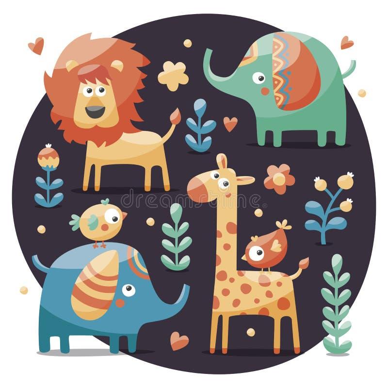 Grupo bonito com elefantes, leão, girafa, pássaros, plantas, selva, flores, corações, folhas, pedra, baga para crianças ilustração royalty free
