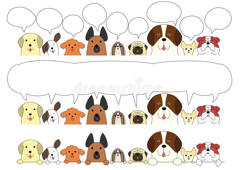 Grupo bonito da beira dos cães ilustração royalty free
