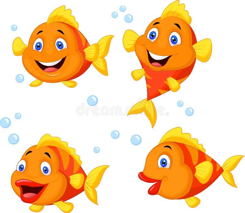 Grupo bonito da coleção dos desenhos animados dos peixes ilustração do vetor