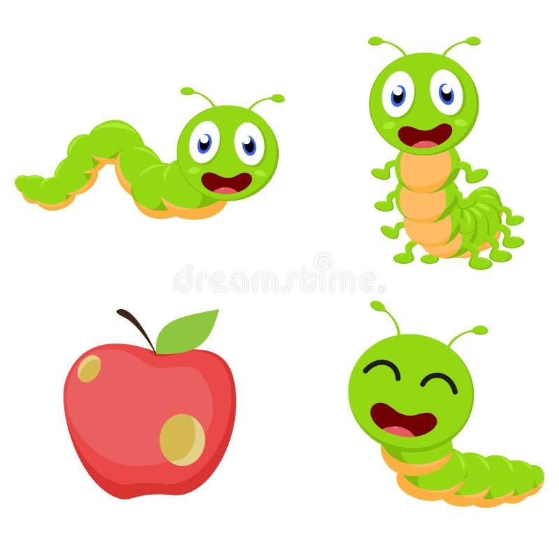 Grupo bonito da coleção dos desenhos animados da lagarta ilustração royalty free