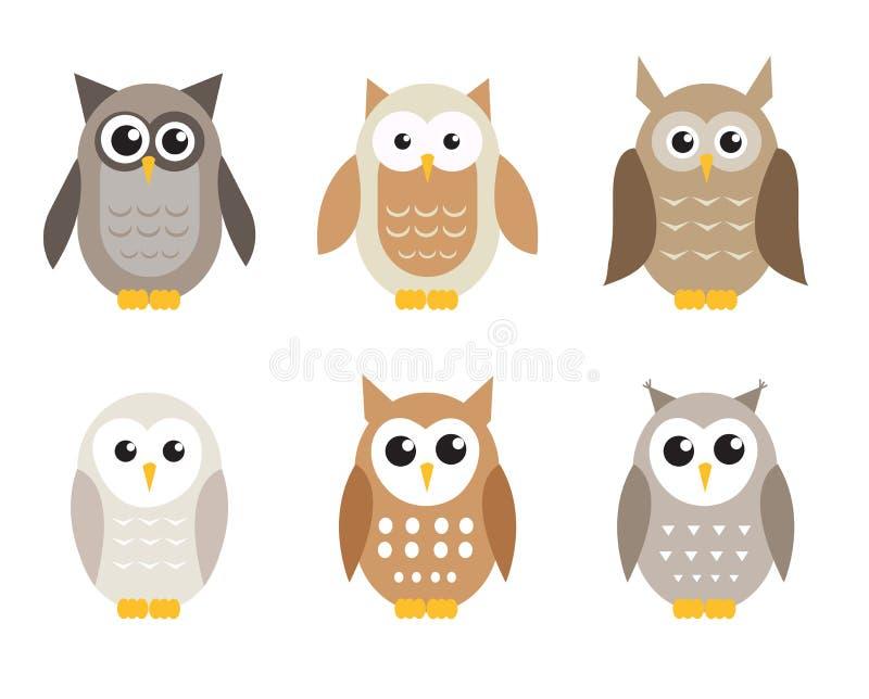 Grupo bonito da coruja dos desenhos animados Corujas nas máscaras do cinza Ilustração do vetor ilustração do vetor