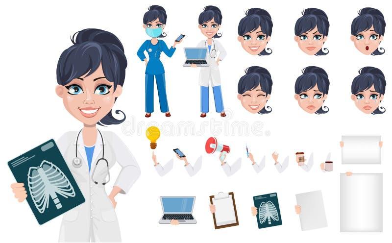 Grupo bonito da criação do médico do personagem de banda desenhada ilustração stock