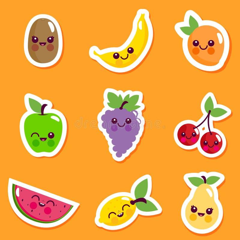 Grupo bonito da etiqueta do caráter do fruto ilustração royalty free