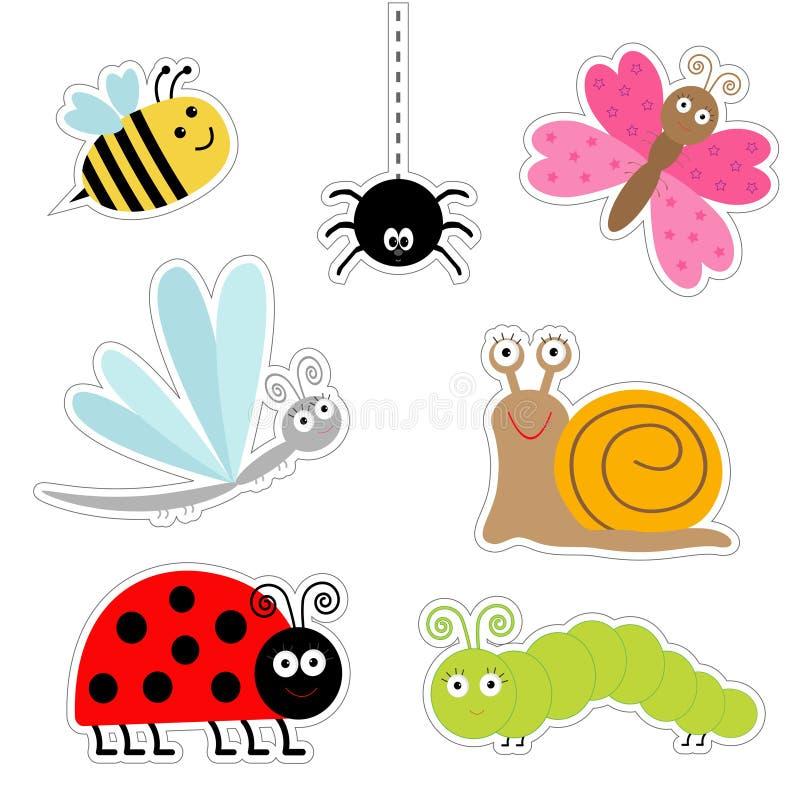 Grupo bonito da etiqueta do inseto dos desenhos animados Caracol da aranha da lagarta da borboleta da libélula do joaninha Projet ilustração stock
