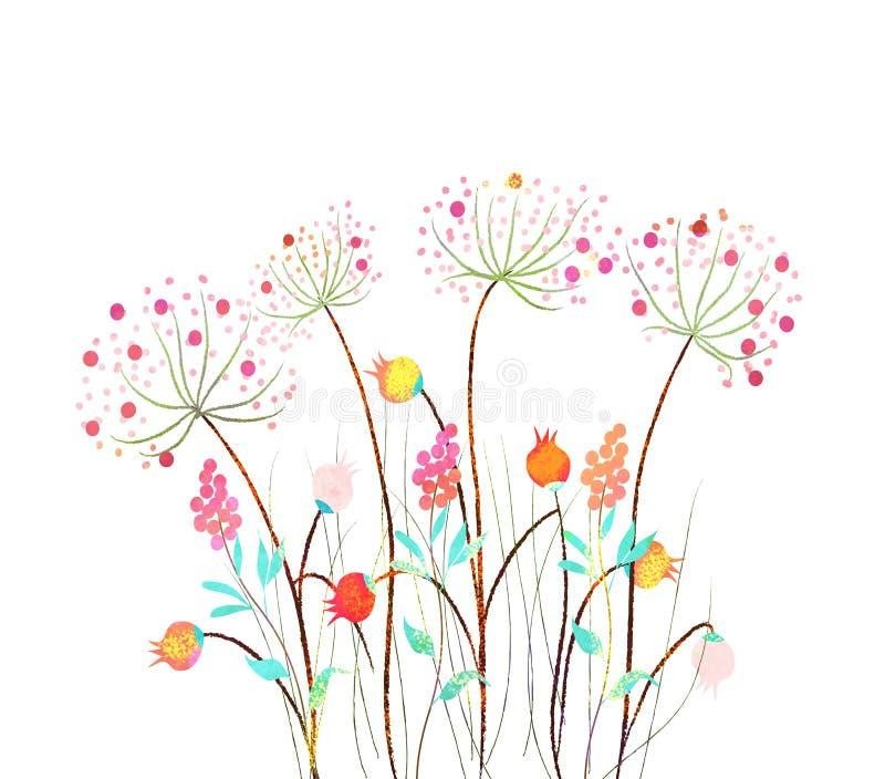 Grupo bonito da flor da aquarela sobre o fundo branco para o projeto ilustração do vetor