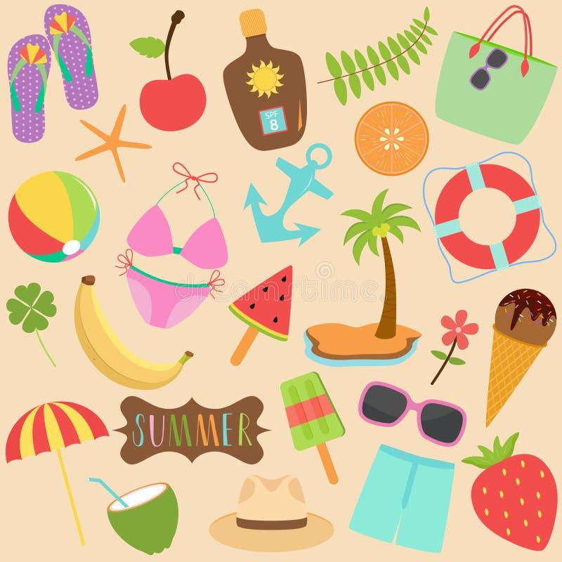 Grupo bonito da ilustração do vetor de coleção colorida dos ícones do verão ilustração stock