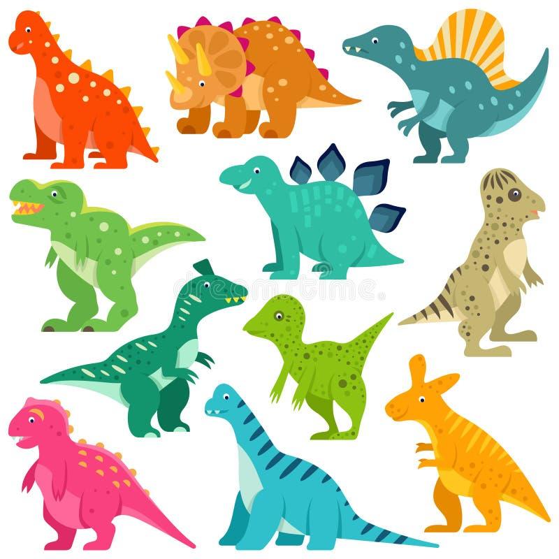 Grupo bonito da ilustração do vetor dos dinossauros ilustração royalty free