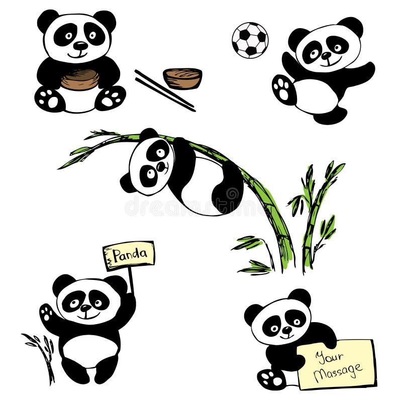 Grupo bonito da panda pequena ilustração do vetor