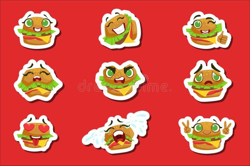Grupo bonito das etiquetas de Emoji do hamburguer Caráter humanizado com coleção diferente das emoções de ícones isolados em colo ilustração stock