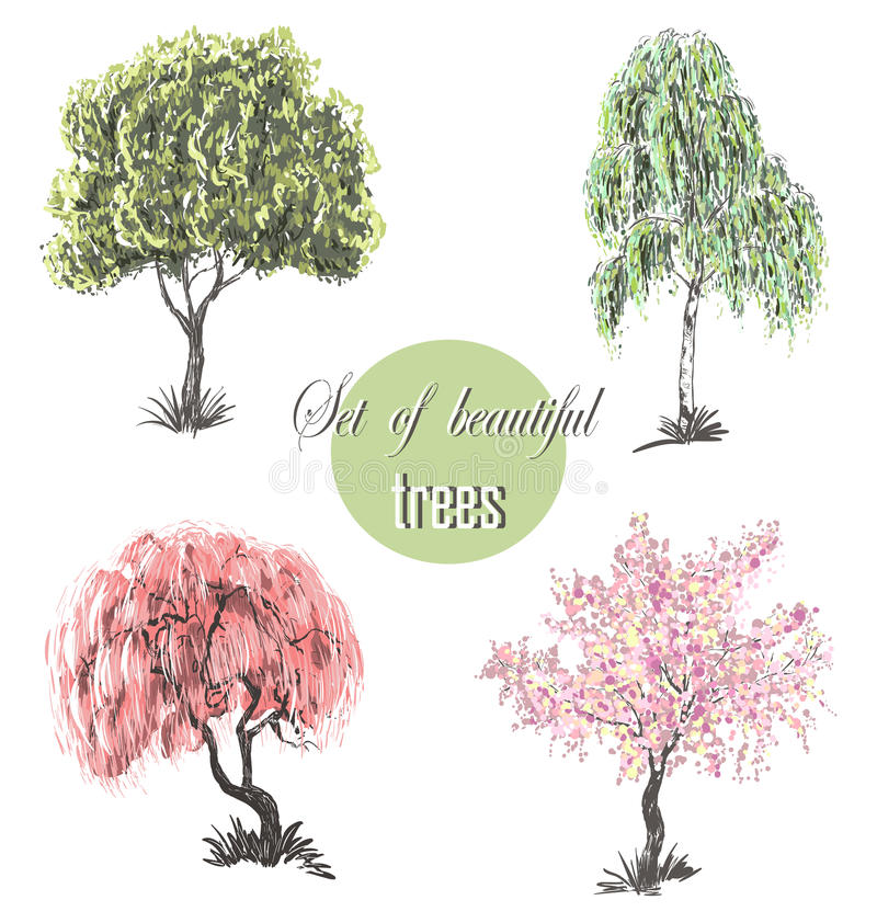 Grupo bonito de árvores surpreendentes da silhueta para o projeto ilustração do vetor