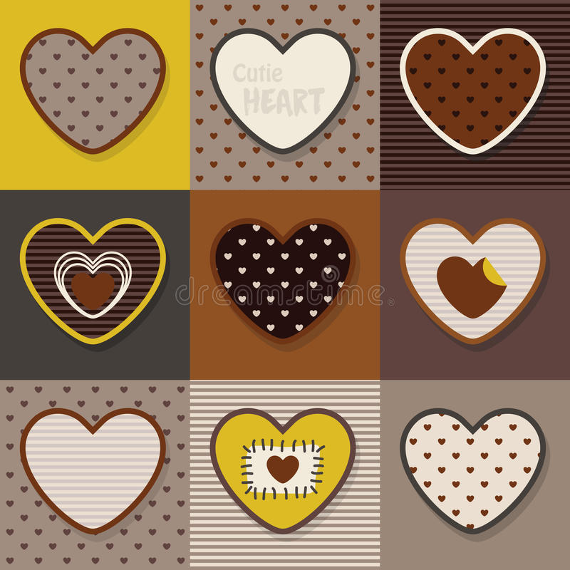 Grupo bonito de Brown, caqui e amarelo dos corações do teste padrão ilustração stock