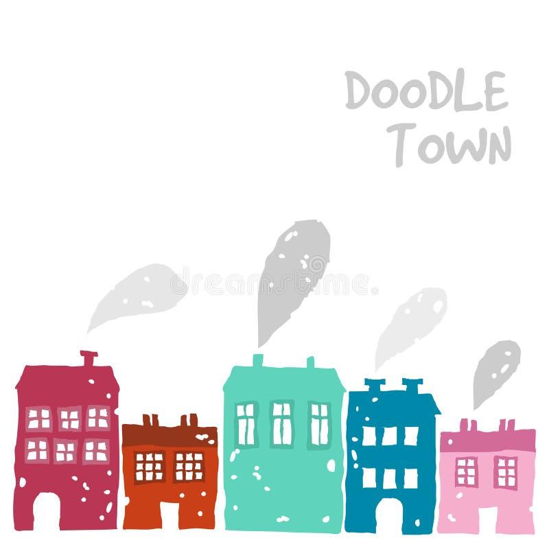 Grupo bonito de casas da garatuja com chaminé de fumo, ilustração, esboço colorido ilustração do vetor