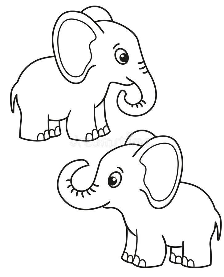 Grupo bonito de elefante dos desenhos animados, ilustrações preto e branco do vetor para a coloração das crianças ou faculdade cr ilustração do vetor