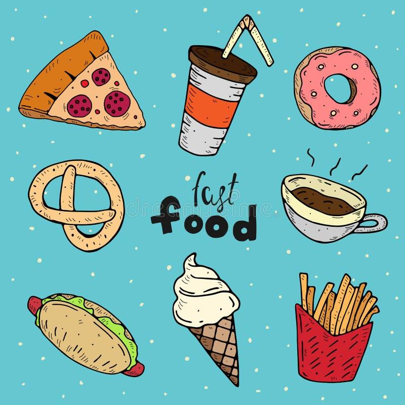 Grupo bonito de fast food Ilustra??o dos desenhos animados do vetor ilustração royalty free