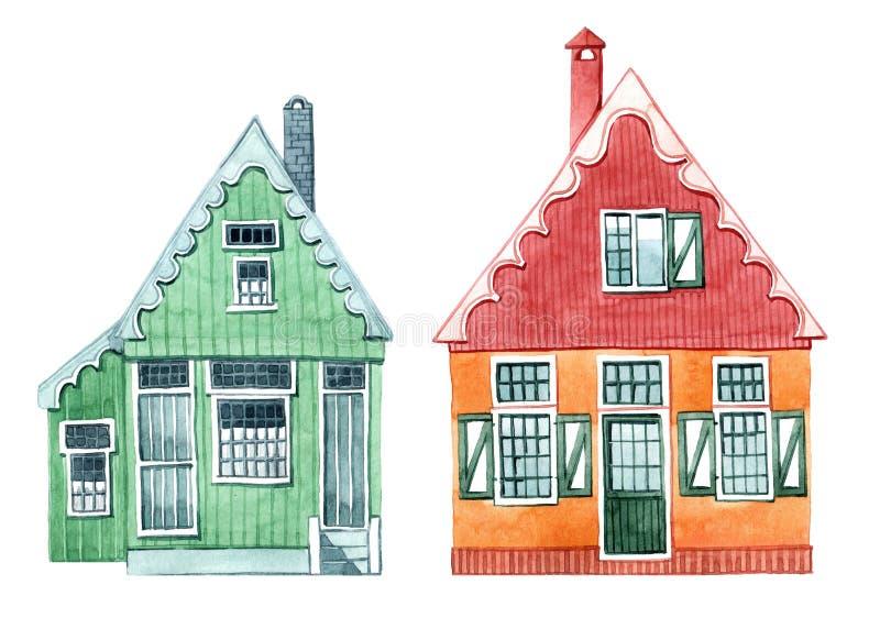 Grupo bonito de ilustra??es da aquarela, casa com janelas e obturadores Casas da vila holandesa ilustração royalty free