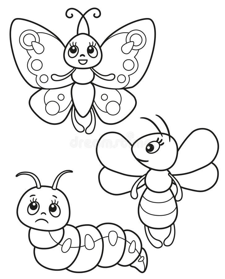 Grupo bonito de insetos engraçados, de ilustrações preto e branco borboleta do vetor, de abelha e de lagarta para a coloração ou  ilustração do vetor