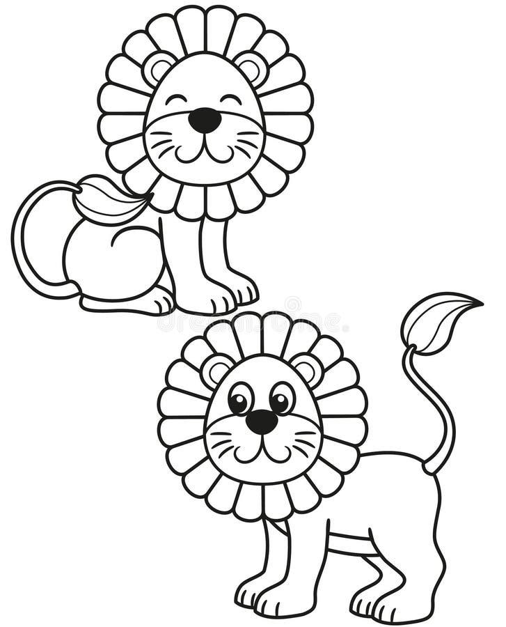 Grupo bonito de leão dos desenhos animados, ilustrações preto e branco do vetor para a coloração das crianças ou faculdade criado ilustração stock