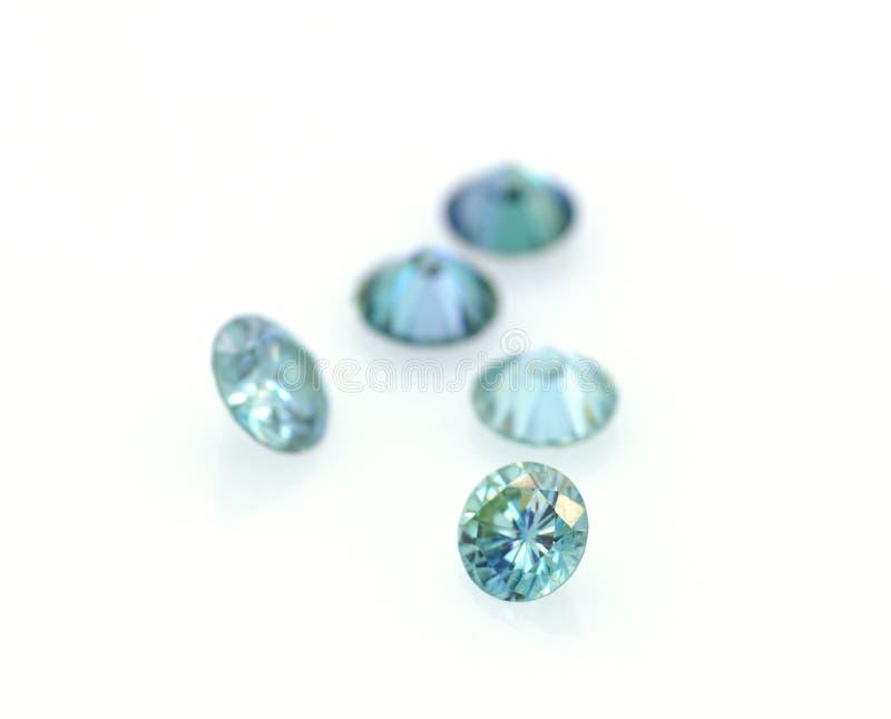 Grupo bonito de moissanites azuis e muito brilhantes Pedras luxuosos Joia e gemology fotos de stock royalty free