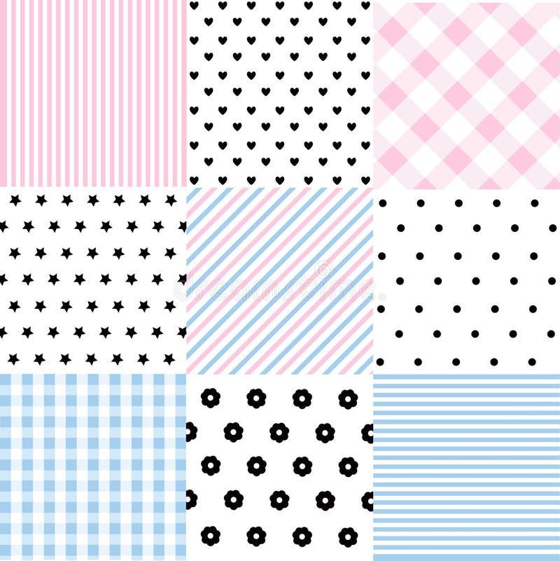 Grupo bonito de testes padrões sem emenda do bebê com texturas da tela ilustração royalty free