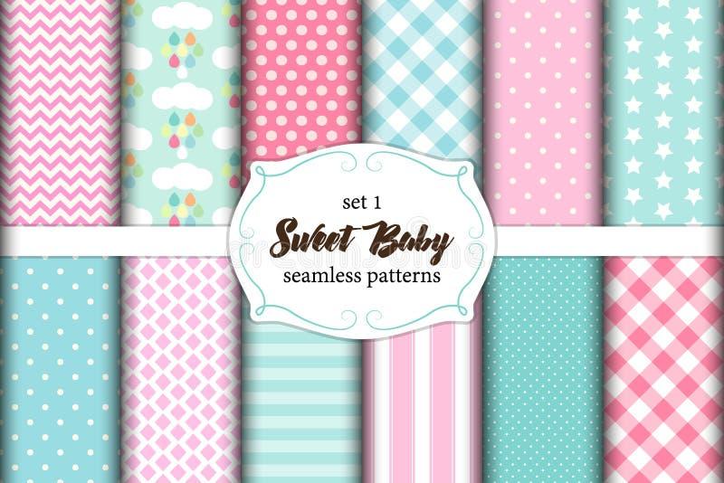 Grupo bonito de testes padrões sem emenda do bebê doce escandinavo com texturas da tela ilustração royalty free