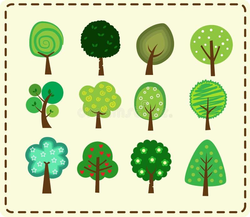 Grupo bonito do ícone da árvore imagens de stock royalty free