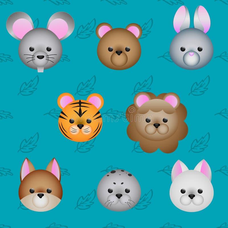 Grupo bonito do ícone da cara dos animais dos desenhos animados, ilustração do vetor ilustração stock