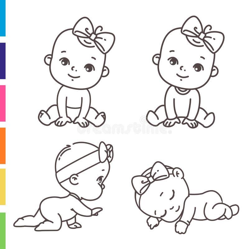Menina Nos Pijamas Que Colorem A Pagina Ilustracao Stock