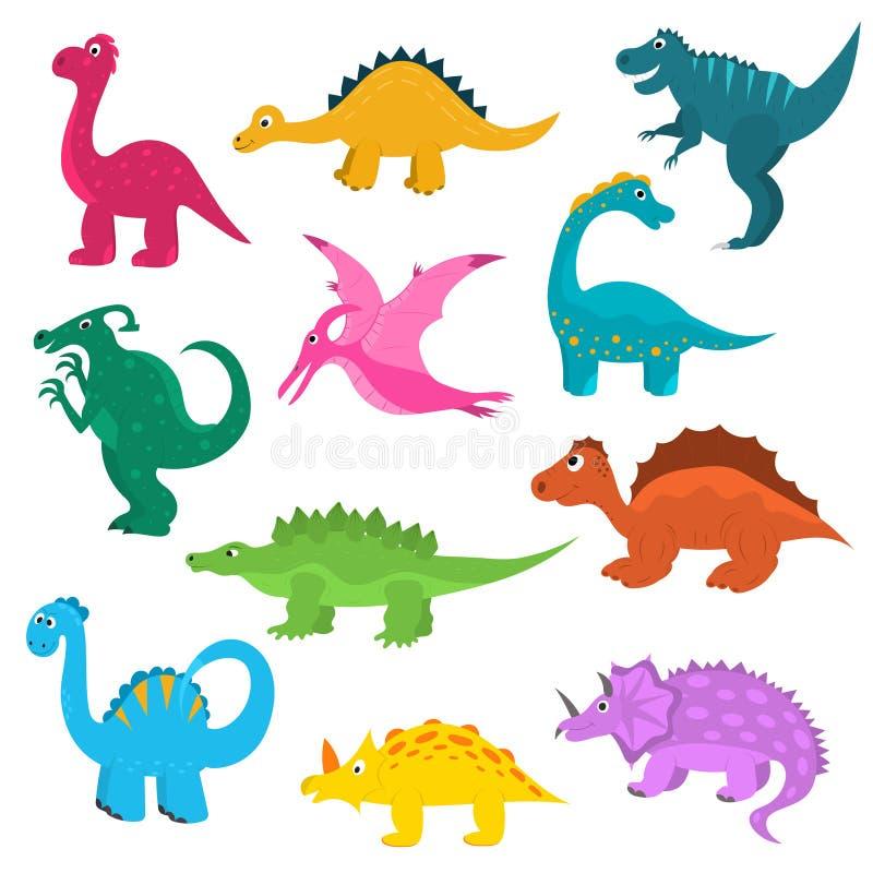 Grupo bonito do ícone dos dinossauros da cor dos desenhos animados Vetor ilustração royalty free