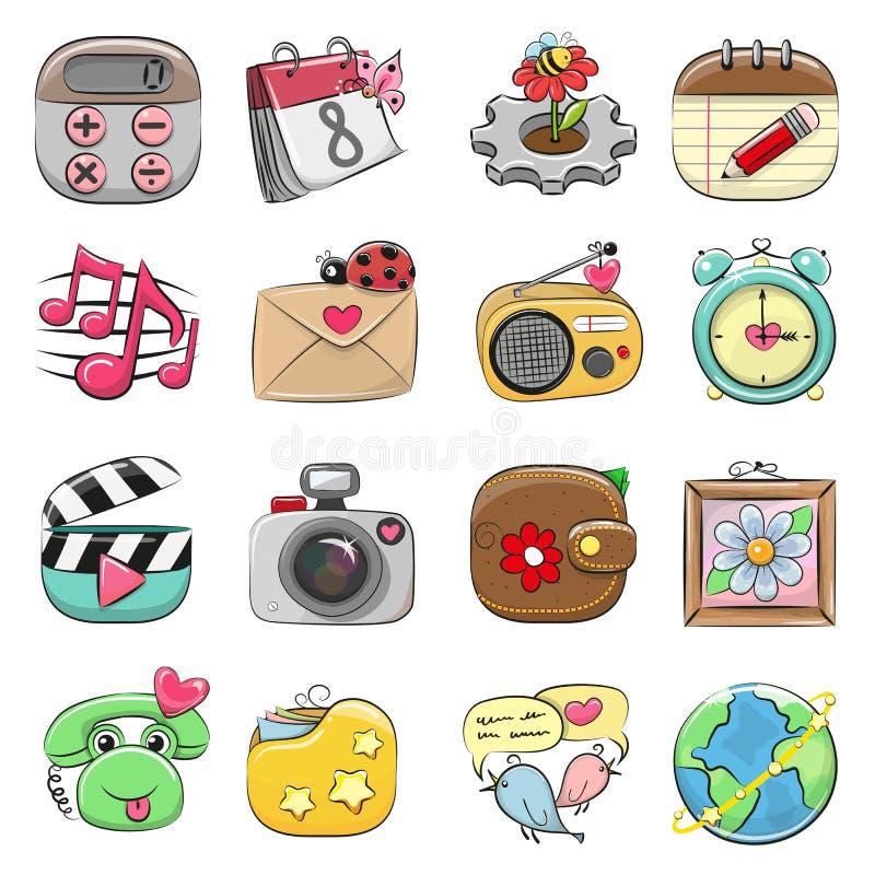 Grupo bonito do ícone para a Web e o App móvel ilustração do vetor