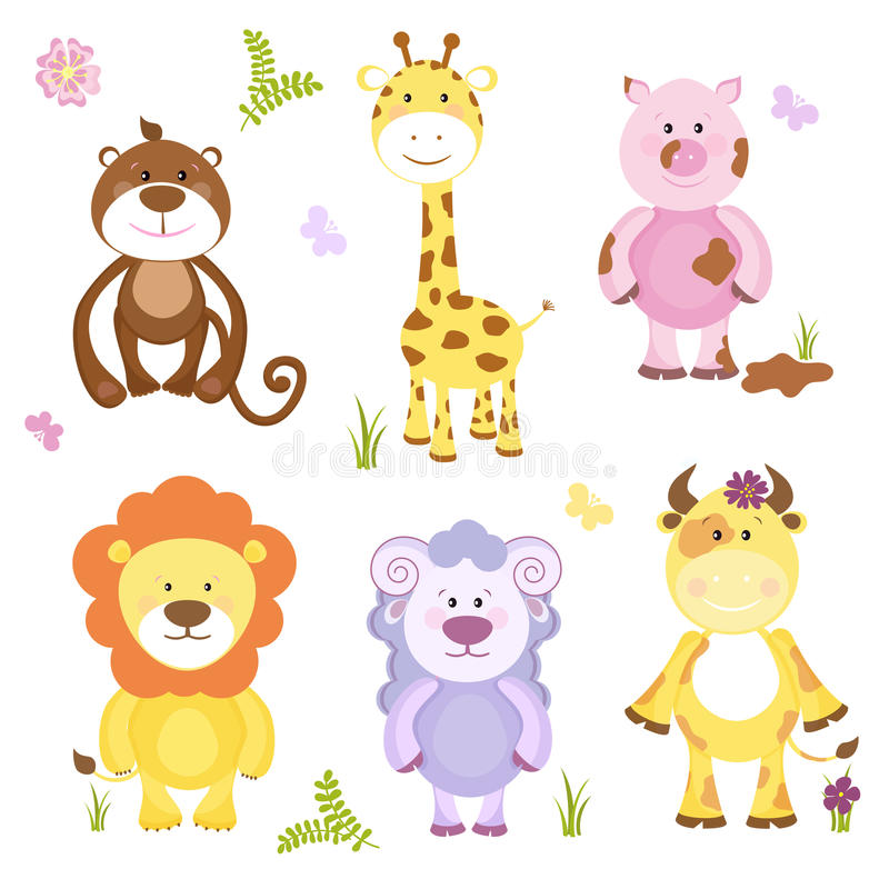 Grupo bonito do animal dos desenhos animados do vetor ilustração do vetor