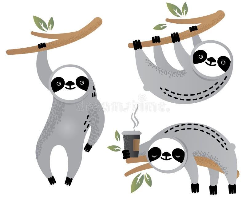 Grupo bonito do animal do urso de preguiça do vetor ilustração royalty free