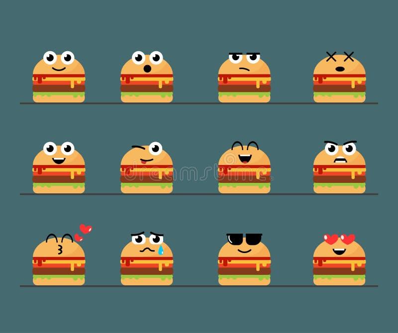 Grupo bonito do cheeseburger do Emoticon liso ilustração stock