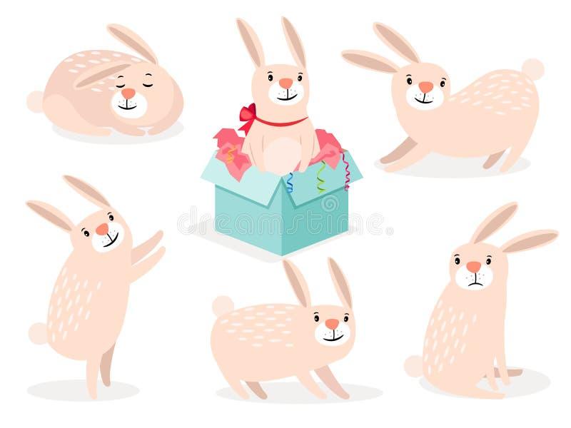 Grupo bonito do coelhinho da Páscoa dos desenhos animados engraçados ilustração stock