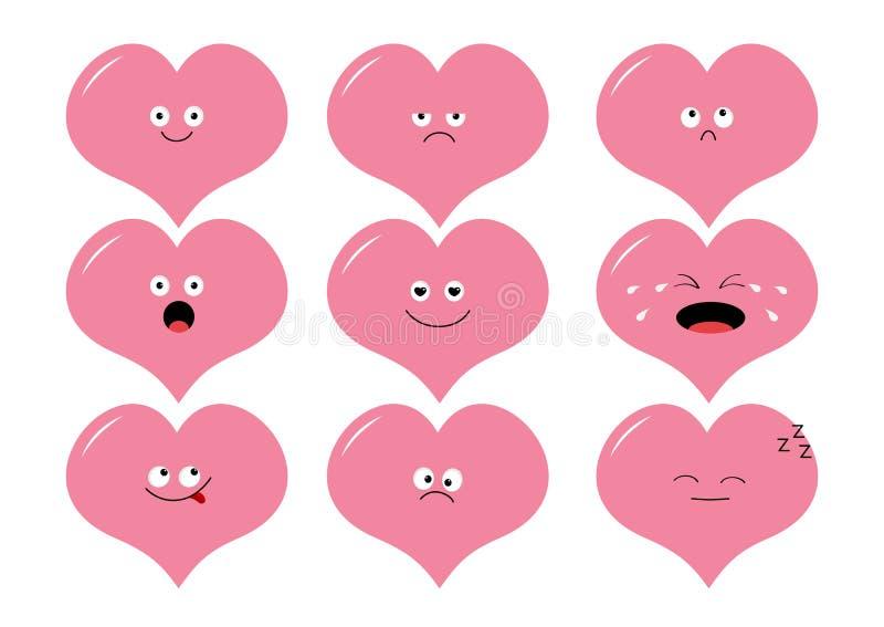 Grupo bonito do emoji da forma do coração Personagens de banda desenhada engraçados do kawaii Coleção da emoção Feliz, surpreendi ilustração stock