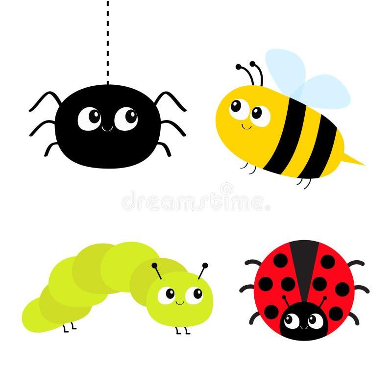 Grupo bonito do inseto dos desenhos animados Joaninha, pássaro da senhora, abelha da abelha, lagarta, aranha Linha do traço Fundo ilustração do vetor