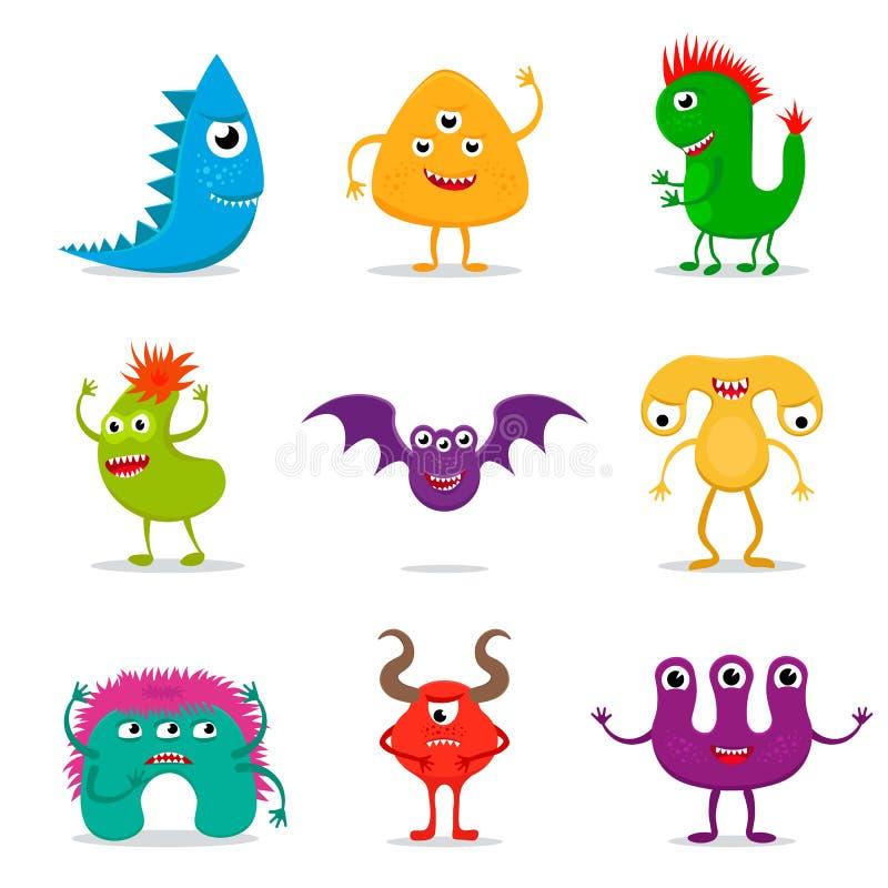 Grupo bonito do monstro dos desenhos animados ilustração royalty free