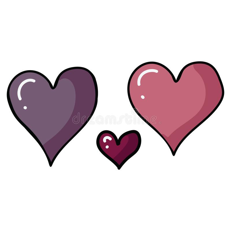 Grupo bonito do motivo da ilustração do vetor dos desenhos animados do coração de três Valentim Clipart romântico isolado tirado  ilustração do vetor