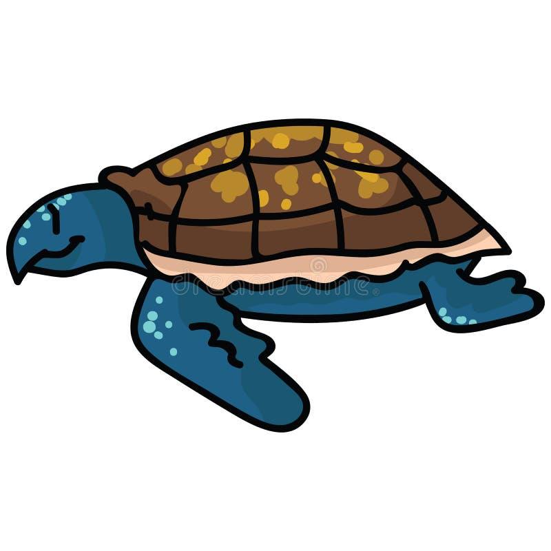 Grupo bonito do motivo da ilustração do vetor dos desenhos animados do lado da tartaruga de mar Clipart posto em perigo isolado t ilustração royalty free