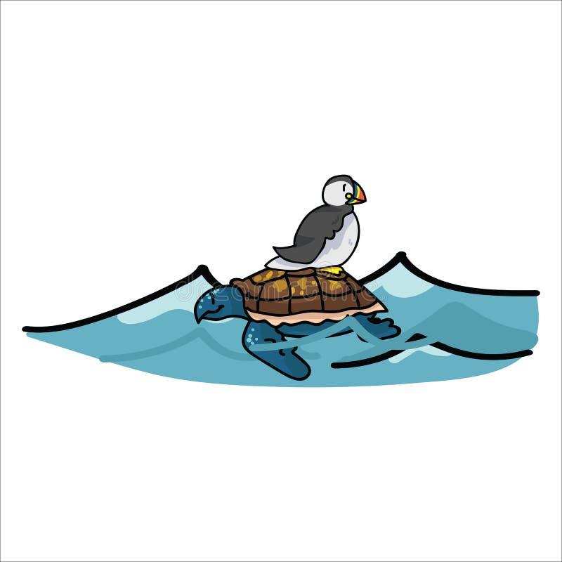 Grupo bonito do motivo da ilustração do vetor dos desenhos animados da tartaruga da equitação do papagaio-do-mar Clipart isolado  ilustração stock