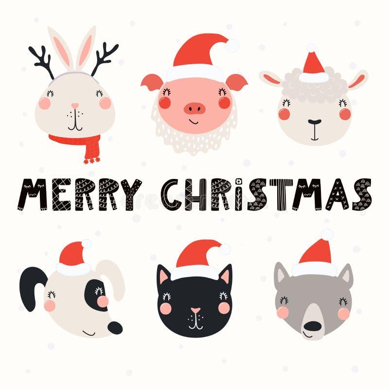 Grupo bonito do Natal dos animais ilustração royalty free