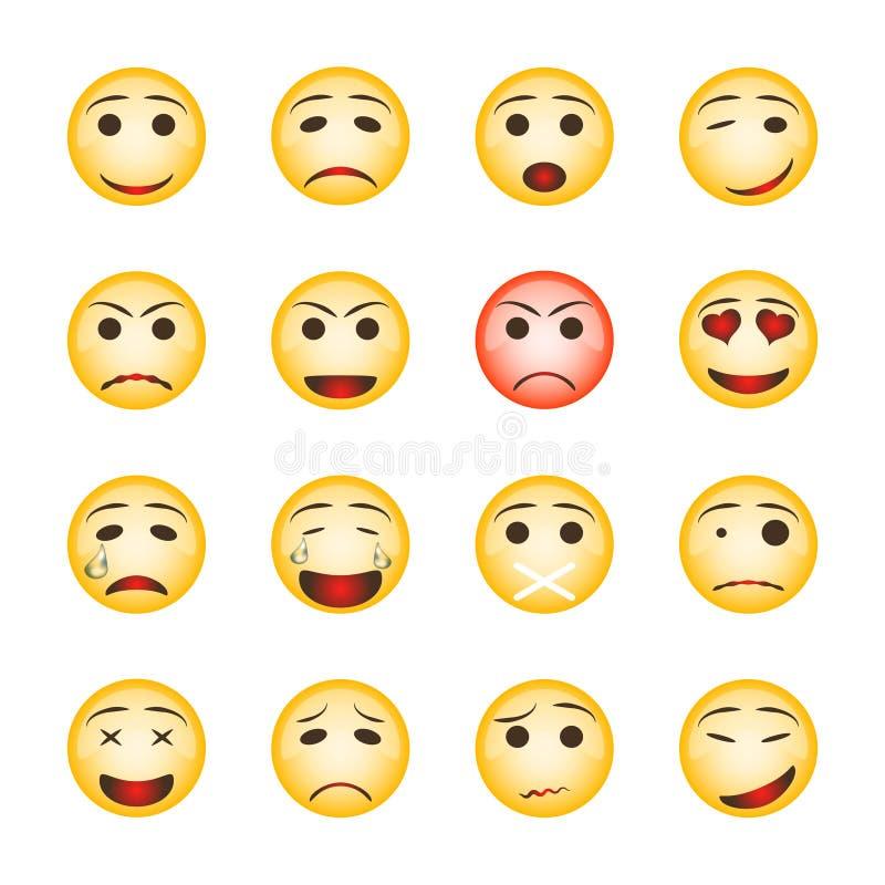 Grupo bonito do smiley Coleção de ícones do emoji no fundo branco ilustração do vetor