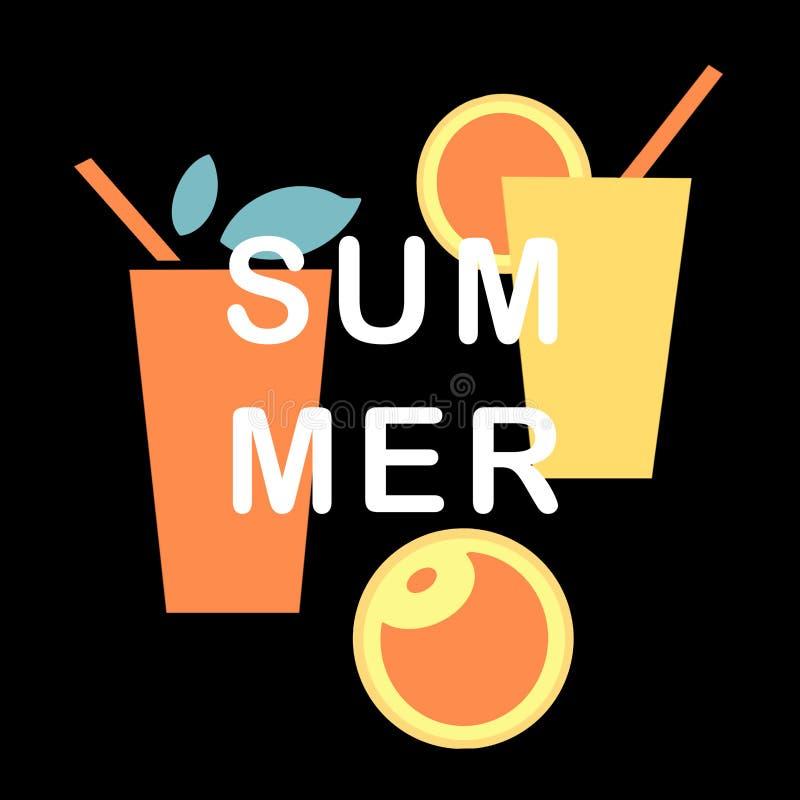 Grupo bonito do verão com bebida amarela, alaranjada e frutos com as folhas no fundo preto ilustração do vetor