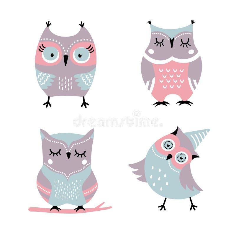 Grupo bonito do vetor das corujas dos desenhos animados ilustração stock