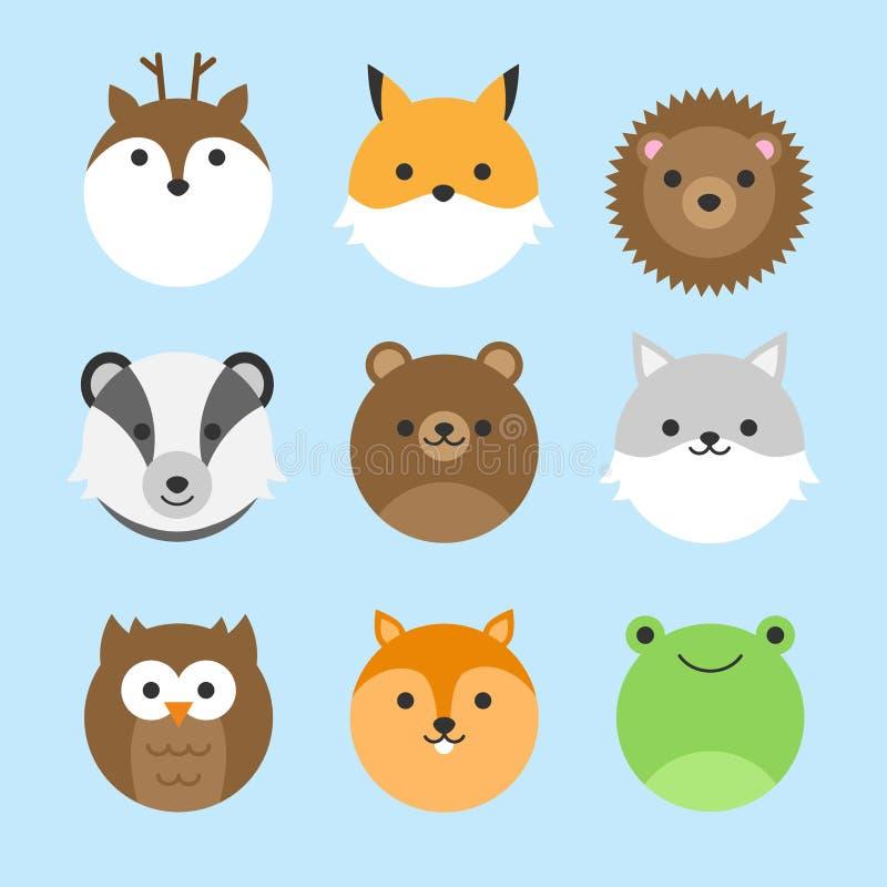 Grupo bonito do vetor de animais da floresta ilustração do vetor