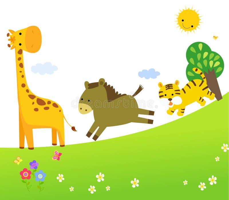 Grupo bonito do vetor de animais do jardim zoológico ilustração do vetor