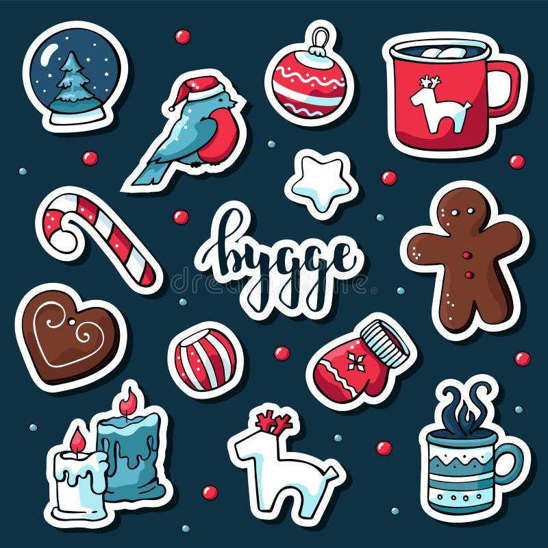 Grupo bonito do vetor de etiquetas do hygge Elementos bonitos do hygge do inverno e do Natal da ilustração Estilo escandinavo com ilustração stock