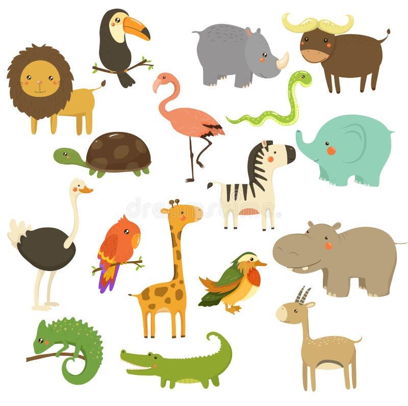 Grupo bonito do vetor dos animais da floresta e da selva ilustração stock