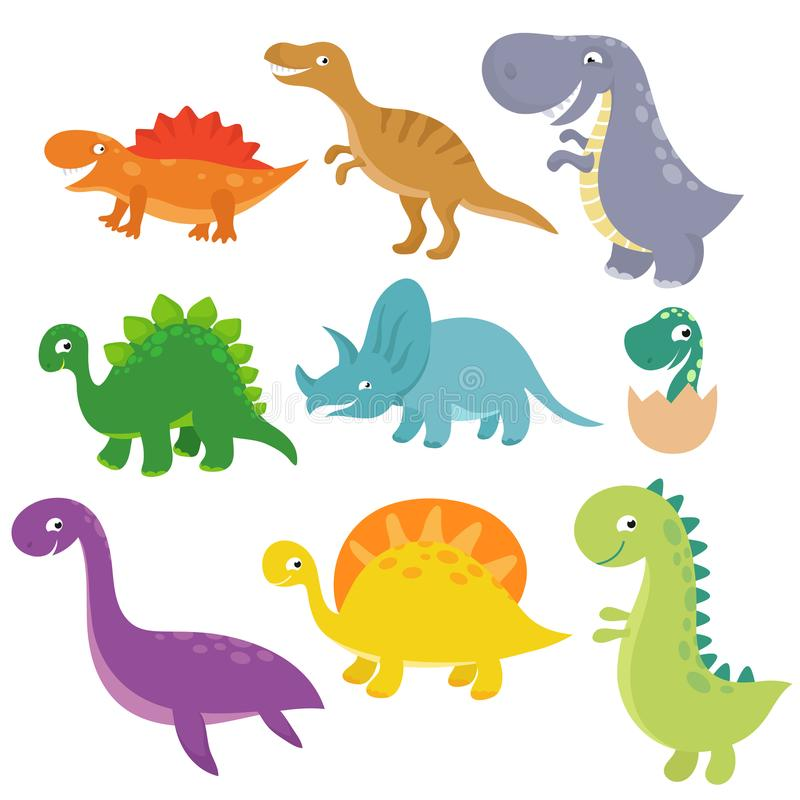 Grupo bonito do vetor dos caráteres do vetor de Dino do bebê ilustração do vetor